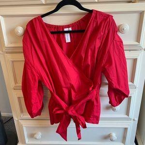 Red, cross tie, long sleeve top